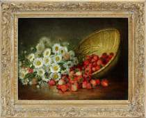 AUGUST LAUX OIL ON CANVAS STRAWBERRIES & DAISIES