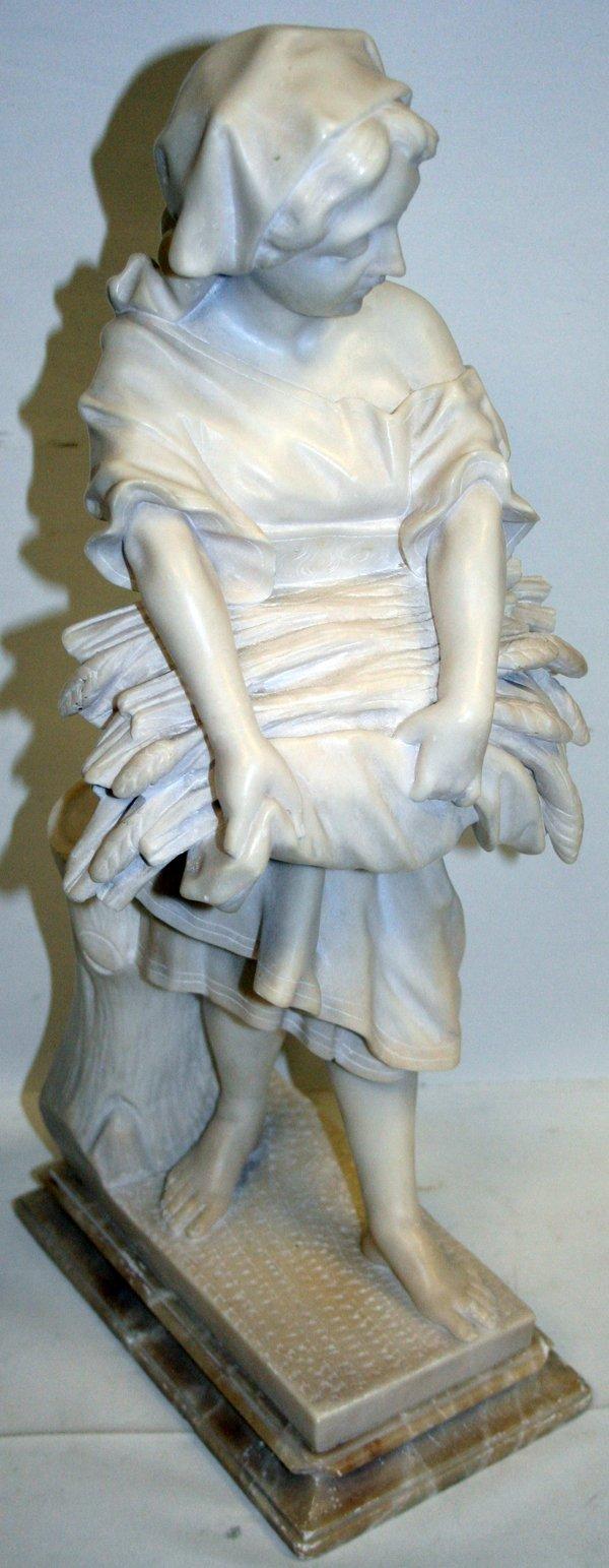 100015: ITALIAN ALABASTER SCULPTURE, GIRL W/HARVEST