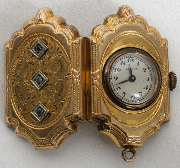 100377: VICTORIAN 10K GOLD FILLED LADIES LOCKET/WATCH