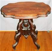 "100387: VICTORIAN WALNUT LAMP TABLE C.1870 H28"" W32"""