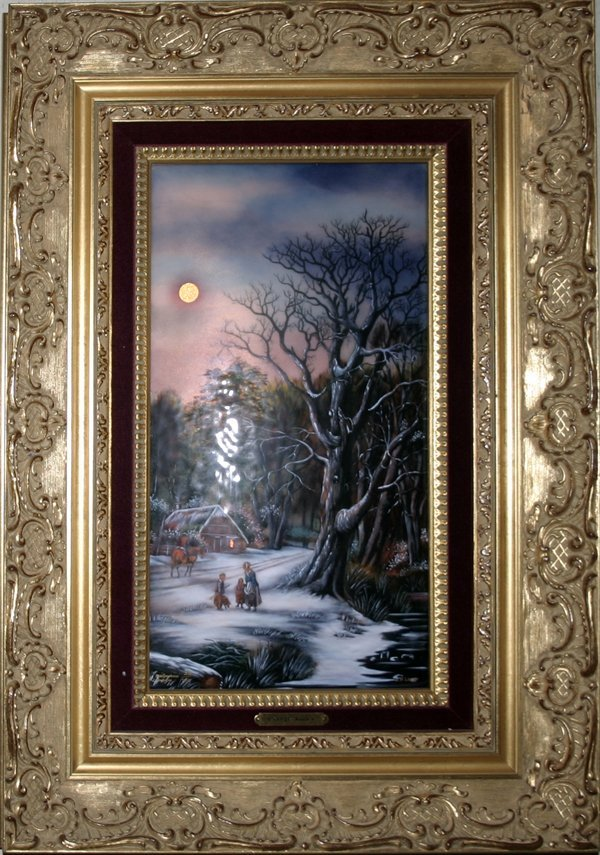 101015: LIMOGES J.P. LOUP PAINTING ON ENAMEL, WINTER