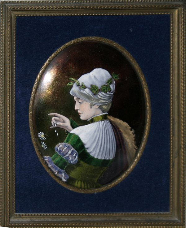 101016: C. LEROUX PAINTING ON ENAMEL, 19TH C.