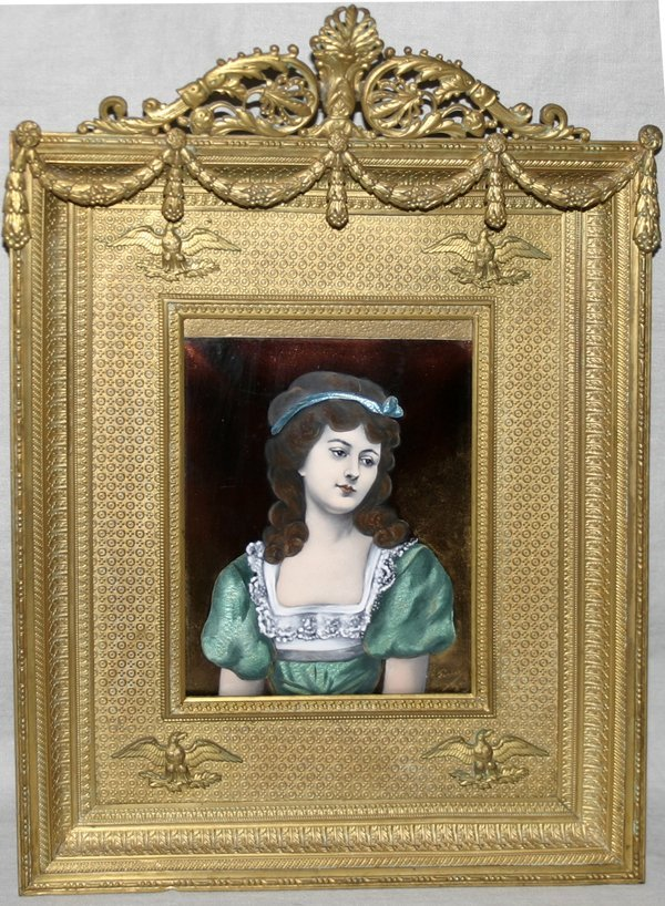 101017: FERIRA PAINTING ON ENAMEL, YOUNG LADY, C.1950