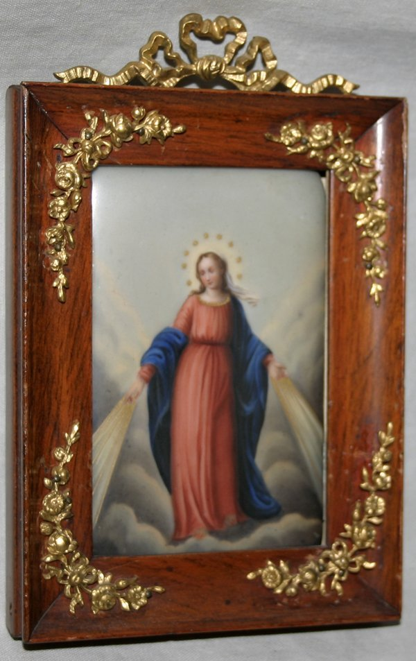 101020: VIENNESE OIL PAINTING ON PORCELAIN, 'MADONNA'