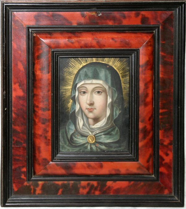 101021: SPANISH HAND-PAINTED ON COPPER, 'MADONNA'