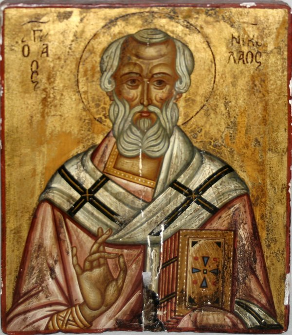 101022: GREEK DECORATED WOOD ICON, 'SAINT NICHOLAS'