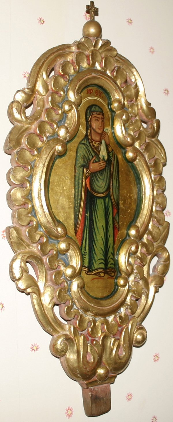 101023: GREEK ICON DEPICTING STANDING MADONNA