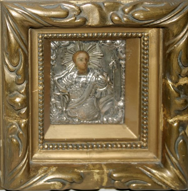 101024: RUSSIAN DECORATED WOOD ICON, 'SAINT GEORGE'