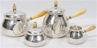 101041 TUTTLE STERLING  IVORY TEA  COFFEE SET
