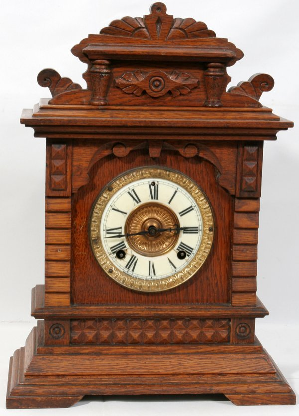 101617: ANSONIA CLOCK CO. OAK MANTLE CLOCK, C.1880