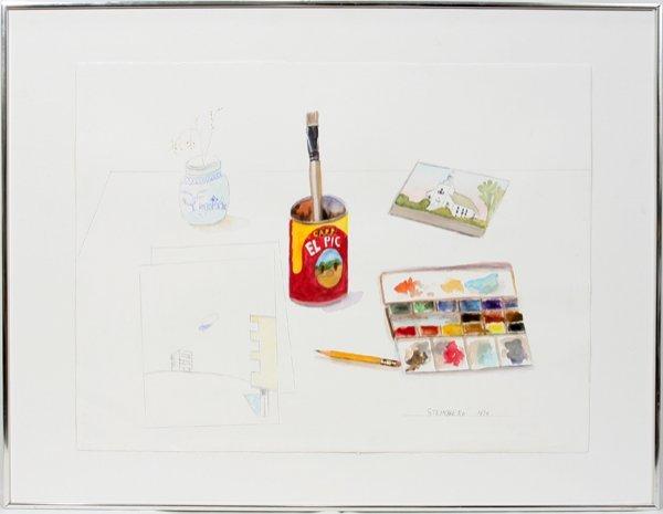 """102003: SAUL STEINBERG WATERCOLOR & DRAWING, """"EL PIC"""""""