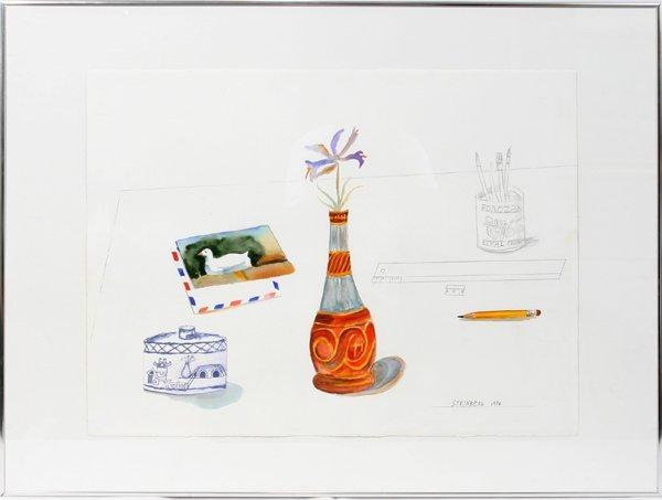 102004: SAUL STEINBERG WATERCOLOR & PENCIL, POAOZAX