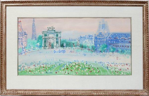 """102012: JEAN DUFY GOUACHE, 14""""x27"""" PARIS STREET SCENE"""