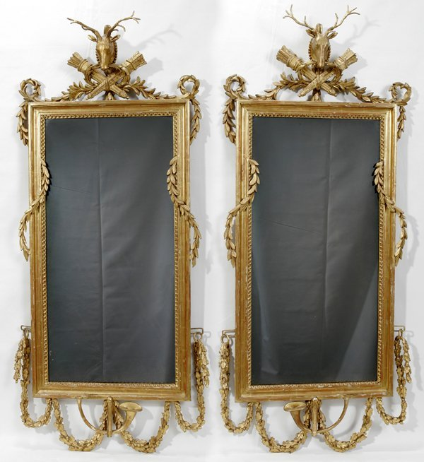 102022: GEORGE III GILT GESSO OVER WOOD WALL MIRRORS