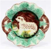 MAJOLICA SERVING PLATE 19TH C ENGLISH SETTER
