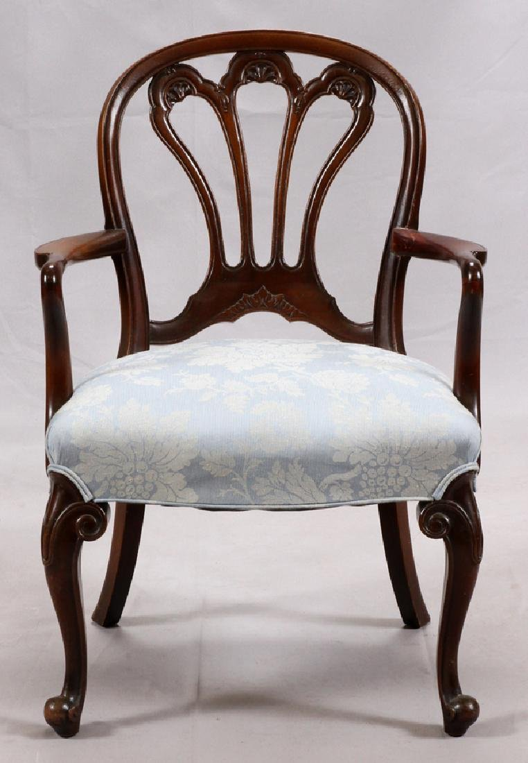 GEORGIAN STYLE CARVED MAHOGANY OPEN ARM CHAIR