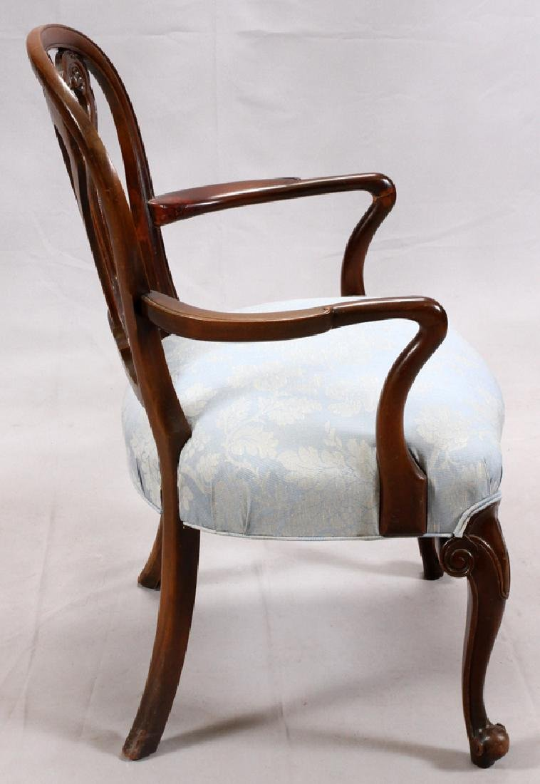 GEORGIAN STYLE CARVED MAHOGANY OPEN ARM CHAIR - 2