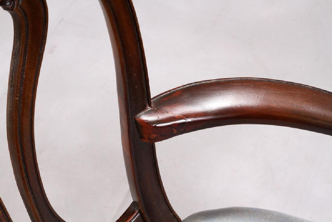GEORGIAN STYLE CARVED MAHOGANY OPEN ARM CHAIR - 3