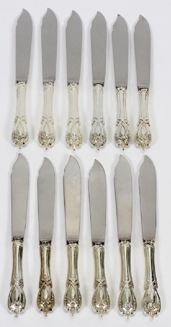 LUNT MONTICELLO STERLING FISH KNIVES, 12 PCS