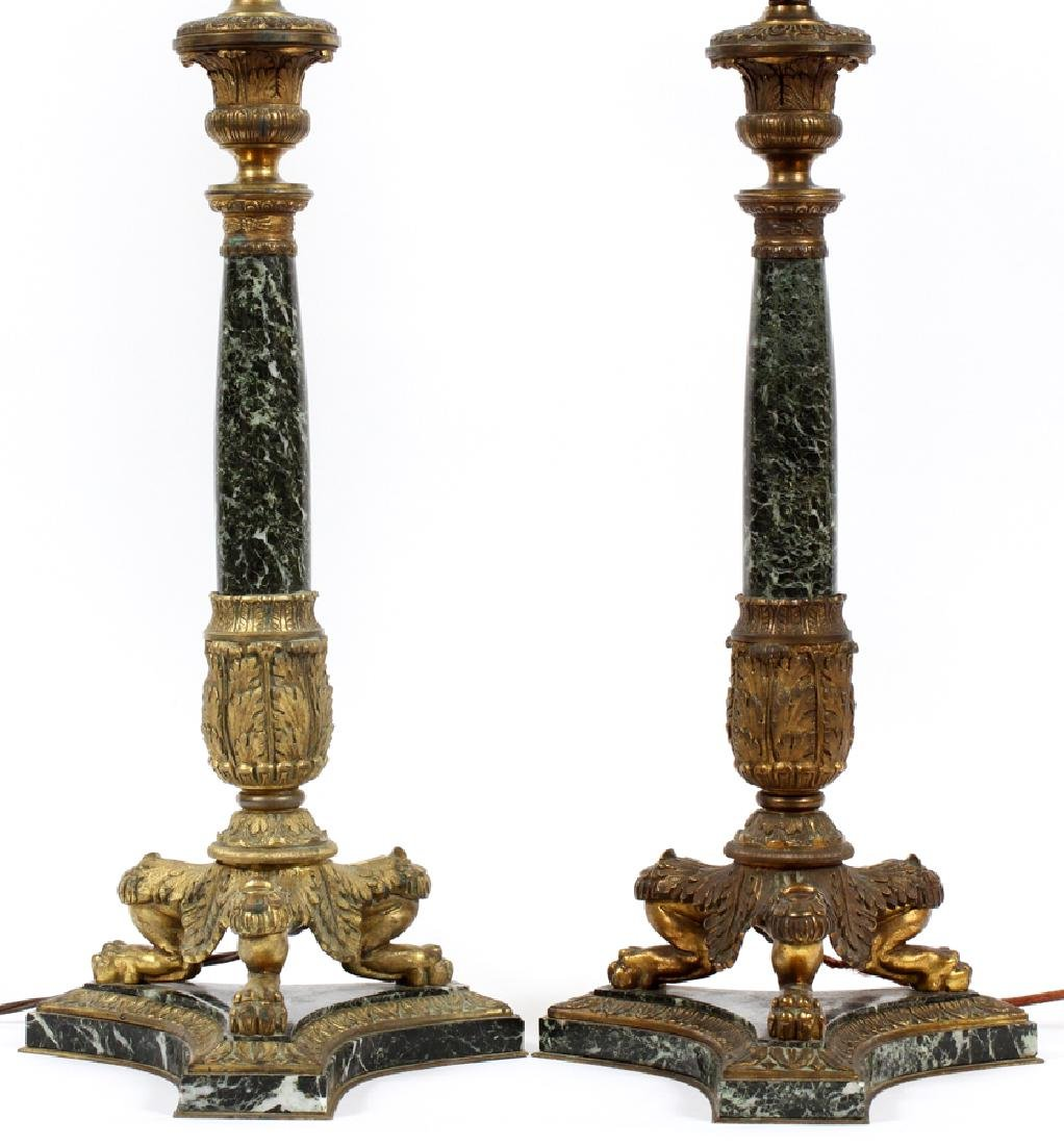 EMPIRE STYLE MARBLE & BRONZE PAW FEET LAMPS