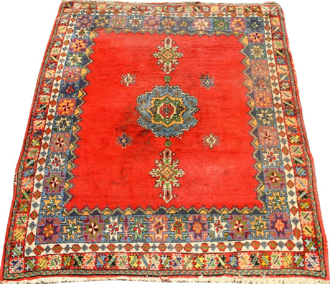 """HAND WOVEN WOOL RUG, W 63.5"""", L 75"""""""