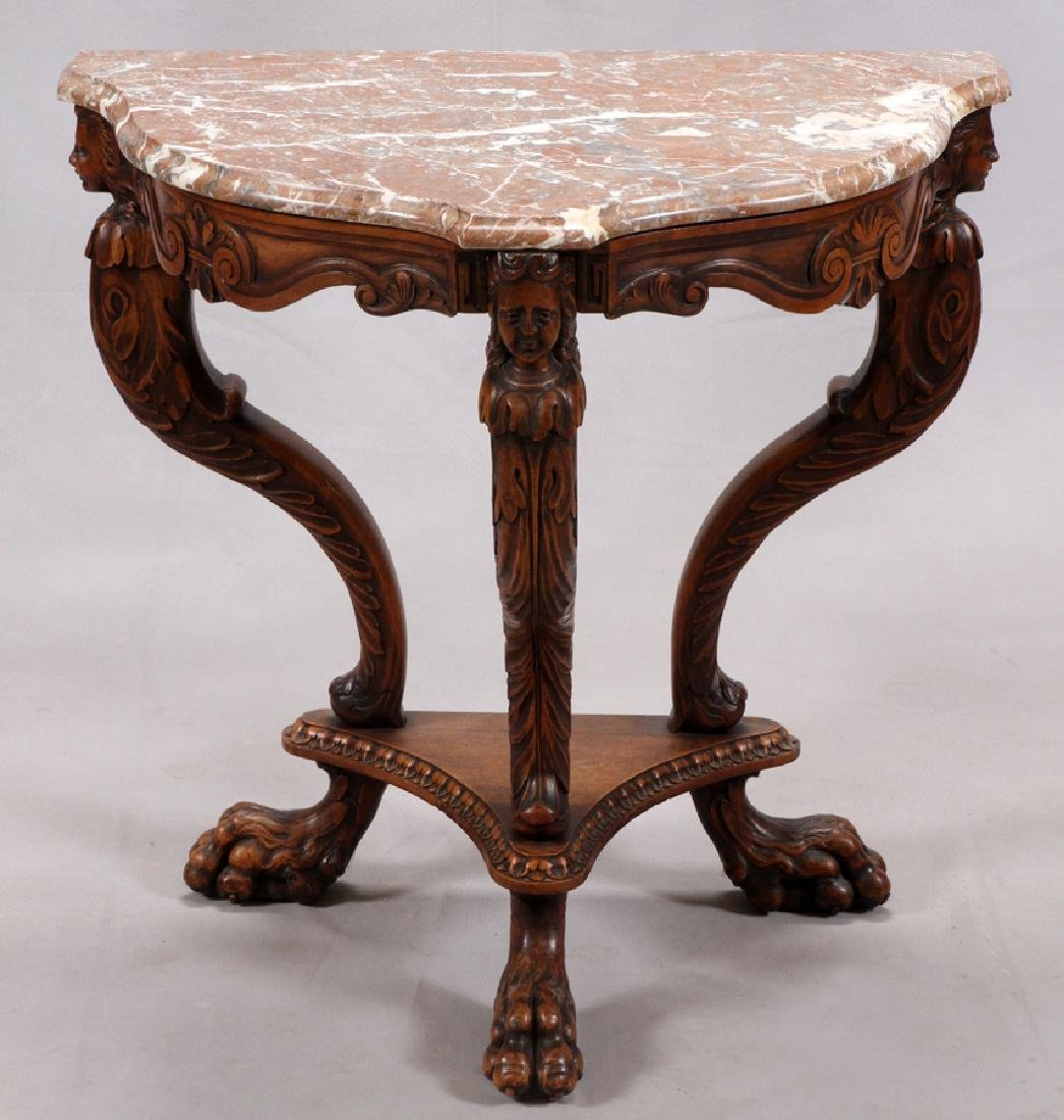 Confident Victorian Walnut And Burlwood Marble Top End Or Center Table Furniture Antiques