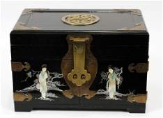 CHINESE MOTHER OF PEARL AND LACQUER JEWELRY BOX