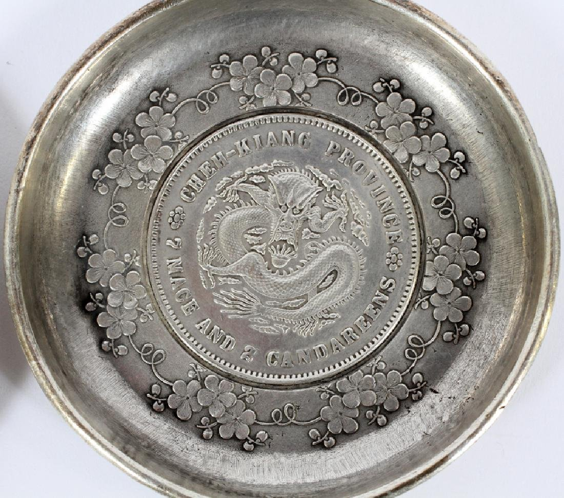 """TWO CHINESE 800 SILVER COIN COASTERS 2 DIA 3"""" - 3"""