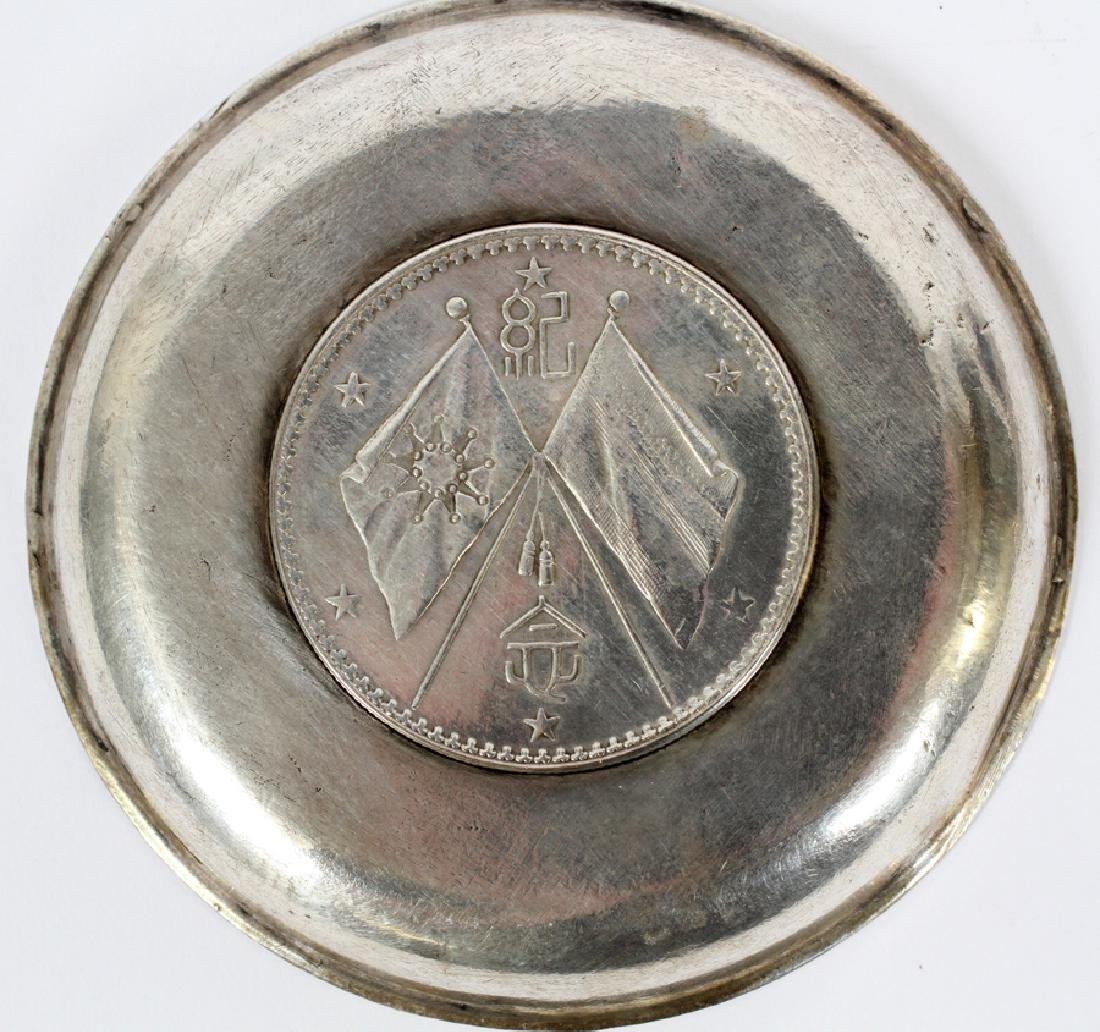 """TWO CHINESE 800 SILVER COIN COASTERS 2 DIA 3"""" - 4"""