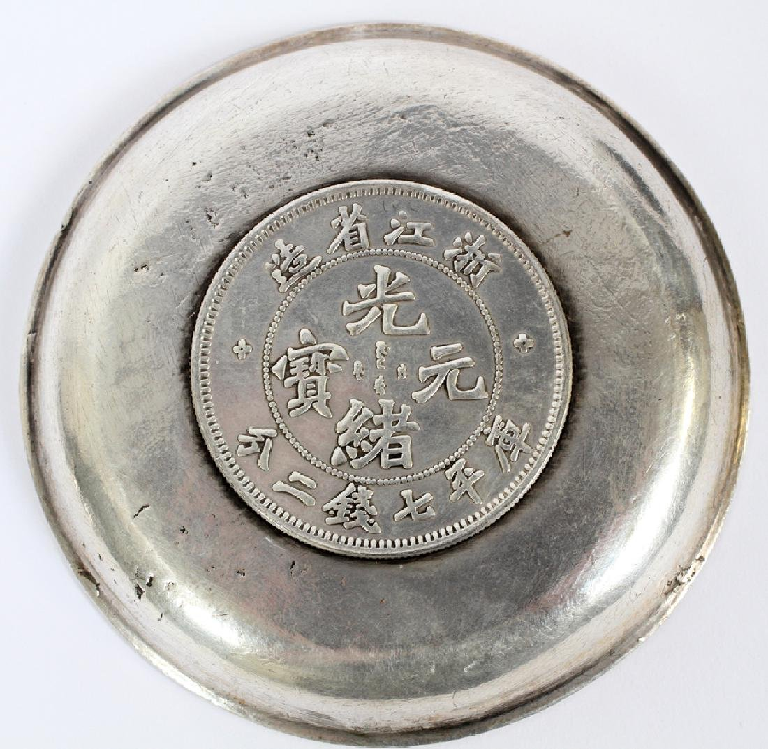 """TWO CHINESE 800 SILVER COIN COASTERS 2 DIA 3"""" - 5"""