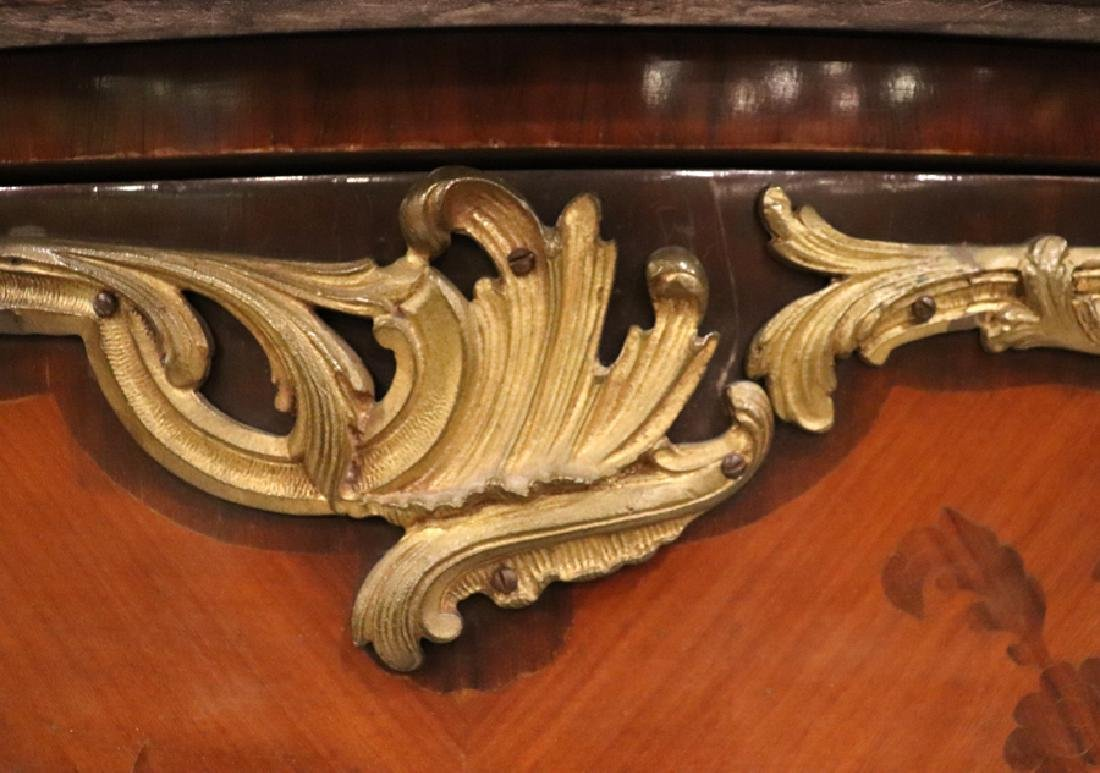 LOUIS XV STYLE INLAY & MARBLE TOP BOMBE COMMODE - 2