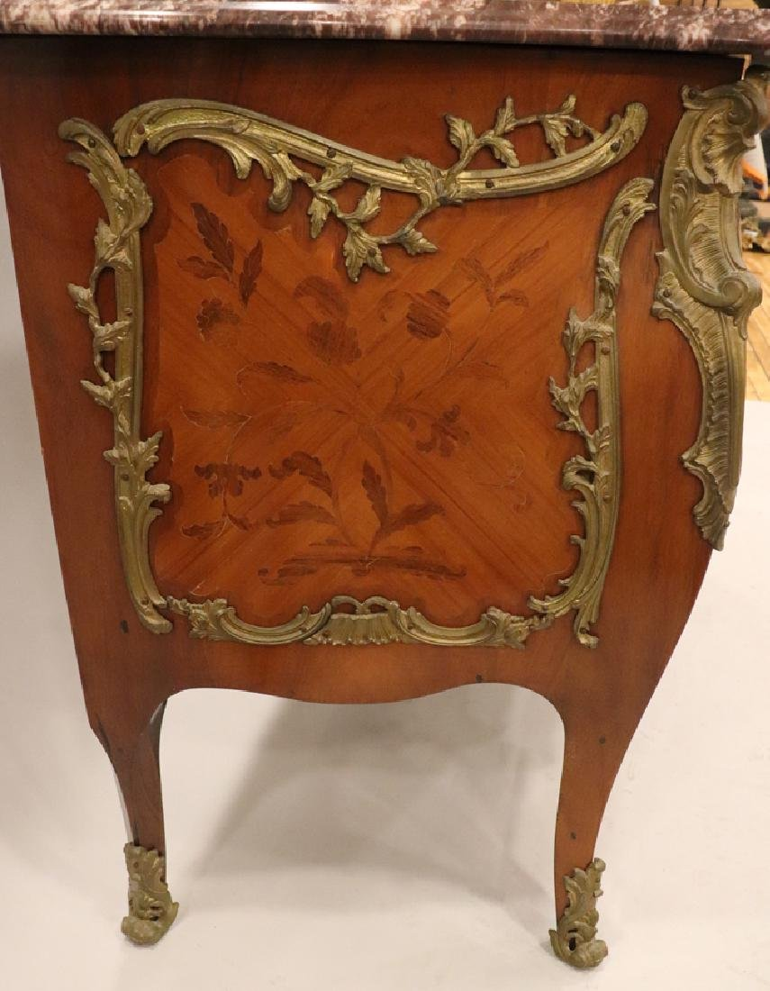 LOUIS XV STYLE INLAY & MARBLE TOP BOMBE COMMODE - 7
