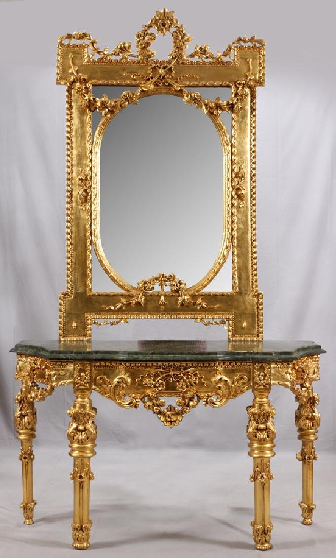 FRENCH STYLE GILT CONSOLE AND MIRROR