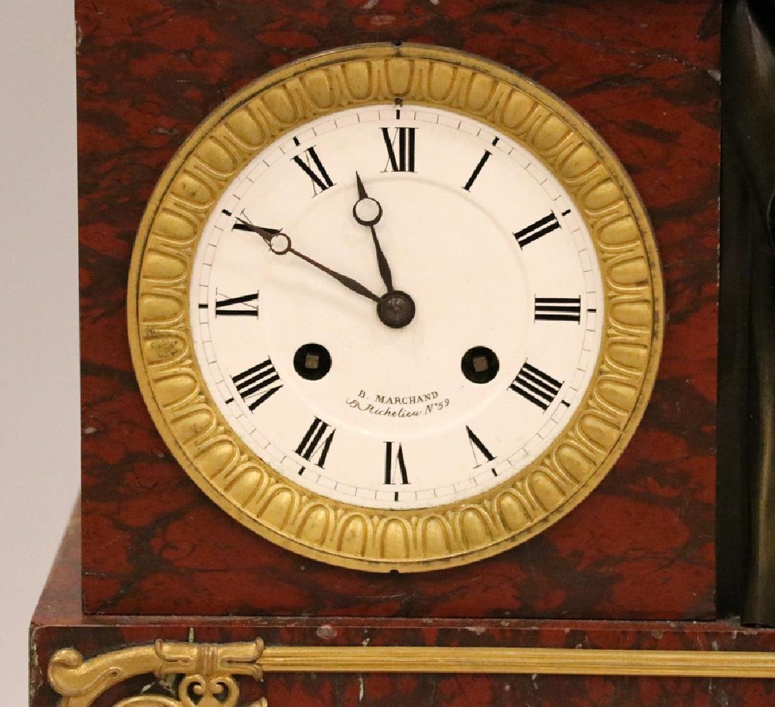 B. MARCHAND BRONZE & MARBLE FIGURAL MANTEL CLOCK - 4