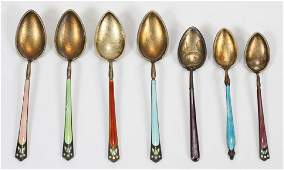 MARIUS HAMMER NORWAY 800 SILVER AND ENAMEL SPOONS