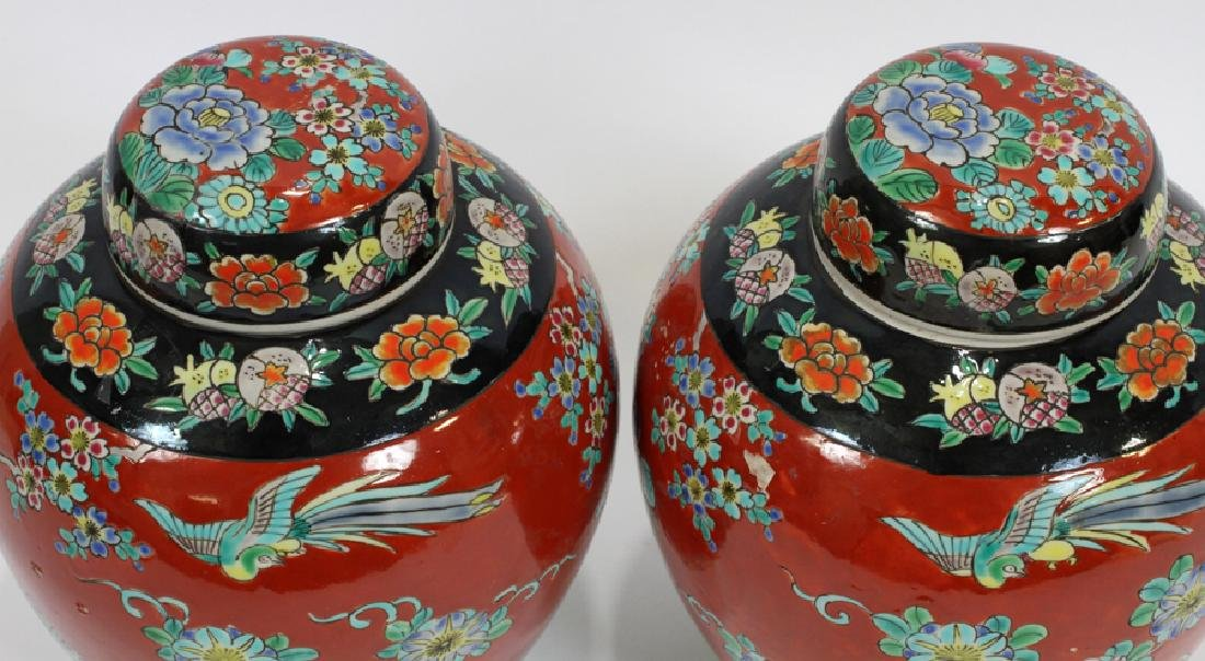 PAIR ANTIQUE CHINESE PORCELAIN GINGER JARS, 2 - 4