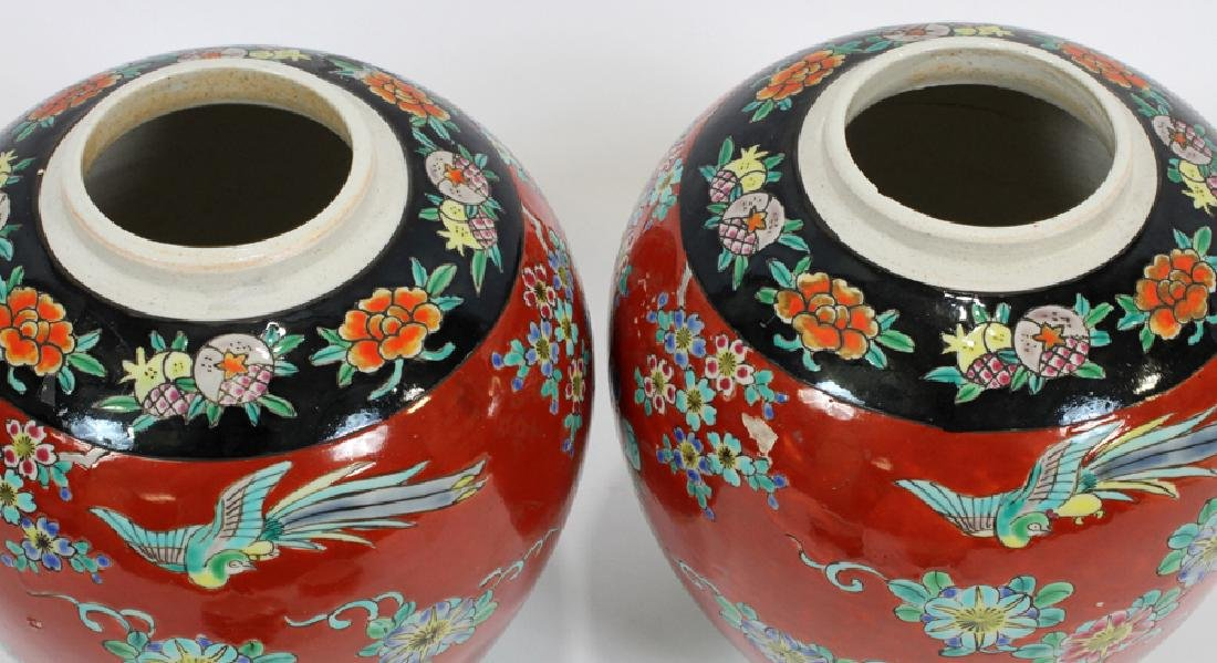 PAIR ANTIQUE CHINESE PORCELAIN GINGER JARS, 2 - 5