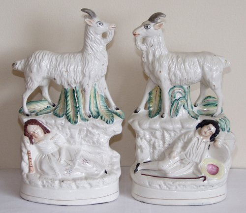 0002: ENGLISH STAFFORDSHIRE POTTERY FIGURES OF GOATS, C