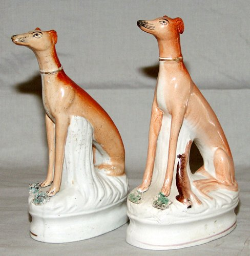 0006: ENGLISH STAFFORDSHIRE POTTERY FIGURES OF HOUNDS,