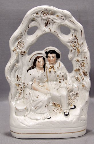 0008: ENGLISH STAFFORDSHIRE POTTERY FIGURE GROUP, 19TH