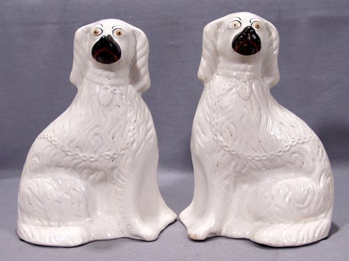 0011: ENGLISH STAFFORDSHIRE POTTERY SPANIELS, LATE 19TH