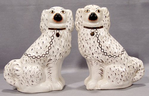 0012: ENGLISH STAFFORDSHIRE POTTERY SPANIELS, 19TH CENT