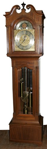 0022: HERSCHEDES MAHOGANY TALL CASE GRANDFATHER CLOCK,
