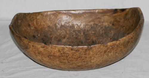 """0176: AMERICAN BURL WOOD BOWL, C 1800, H 5 1/2"""", L 15 """""""