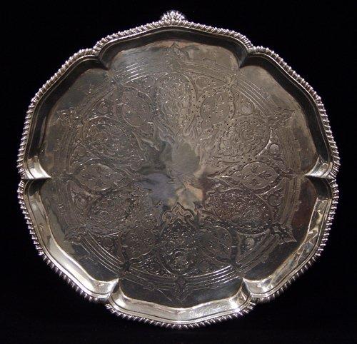 1006: ENGLISH GEORGE III STERLING SILVER SALVER, E. COK