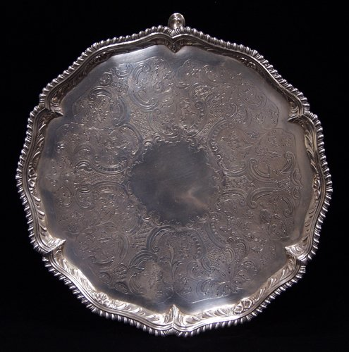 1007: ENGLISH GEORGE III STERLING SILVER SALVER, JOHN Q