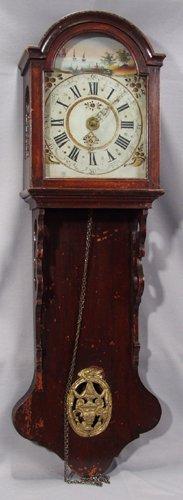 1014: DUTCH HANGING STYLE WALNUT WALL CLOCK, 18TH CENTU