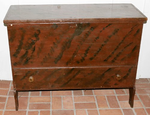 """1019: PAINTED GREEN PINE MULE CHEST H 34 1/2"""", L 45"""", D"""
