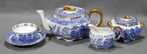 1020: COPELAND SPODE 'BLUE WILLOW' PORCELAIN TEA SET, R