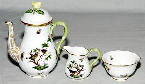 1389 HEREND PORCELAIN INDIVIDUAL COFFEE SET ROTHSCHI